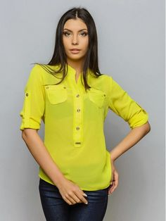 Yellow Short Sleeve School Blouses 18
