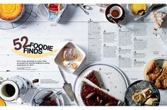 Great spread mixing items and words. . . nice spacing and feel to this magazine spread. I also like the color choices.