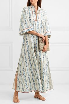 Blue and ivory cotton-blend Button fastenings along front, concealed hook and zip fastening at back cotton, elastane Dry clean Made in Italy Abaya Fashion, Fashion Dresses, Gucci Pouch, Hippie Movement, Kaftan Abaya, Gucci Floral, Street Outfit, Cotton Dresses, Printed Cotton