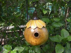 Painted Gourd Birdhouse Sunflower Garden Art