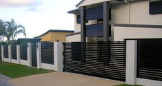 6 Proud Simple Ideas: Front Fence Design tall brick fence.Fence Design Posts dog fence on a budget. Modern Fence, House, Home, Modern, Beautiful Yards, Modern Fence Design, Front Yard, Sliding Gate, Gate Design