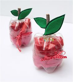 Apple gift container made from recycled bottles - Great for a teacher gift Teacher appreciation gift Teach. Old Bottles, Recycled Bottles, Plastic Bottle Crafts, Plastic Bottles, Plastic Pop, Plastic Containers, Water Bottles, Teacher Appreciation Gifts, Teacher Gifts