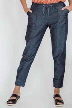 Seamwork Moji pants--black or navy Essex linen with Merlot or lime drawstring/pocket bags