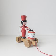 vintage wood drummer boy pull toy by ohalbatross on Etsy, $39.00 - automaton toy