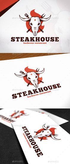 Steakhouse Bbq Logo Design Template PSD, Vector EPS, AI