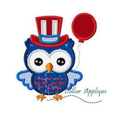 July 4th Owl 2 Applique - 3 Sizes! | What's New | Machine Embroidery Designs | SWAKembroidery.com Dollar Applique
