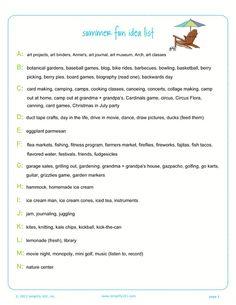 Ideas for creating a summer bucket list.