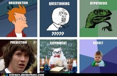 Scientific method - meme version. My son will probably remember this just because of the goofy memes. Quick painless learning of the general order of steps.