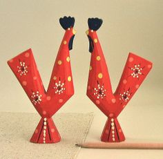 Pair Vtg SWEDISH Wood DALA ROOSTER Chicken Hand-Painted Red SWEDEN Mod Folk Art