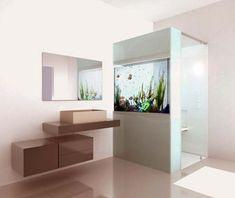 stand up shower with aquarium... crazy! #design