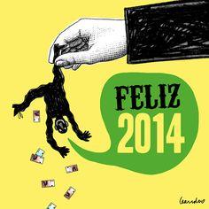 Feliz 2014. Viñeta por Leandro Barea.