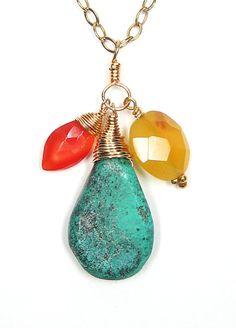 Spring 2012 Collection - Turquoise, Carnelian & Chalcedony Pendant Necklace