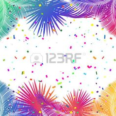 Tropical palm tree leaves confetti festive poster  Stock Vector