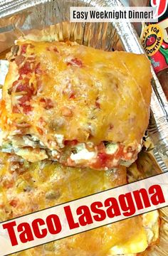 Easy To Make Taco Lasagna! All the tasty taco flavors in the form of a lasagna - perfect weeknight dinner! Gourmet Recipes, Dinner Recipes, Cooking Recipes, Healthy Recipes, Dinner Ideas, Easy Mexican Food Recipes, Ground Beef Recipes For Dinner, Cooking Ham, Tasty Meals