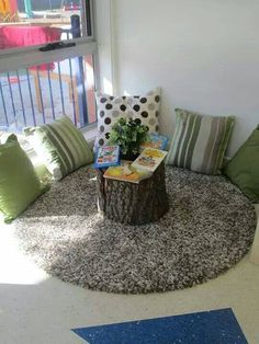 This is an awesome idea. Using the tree stump is a way of being the aspect of nature in. I would add more books there though.