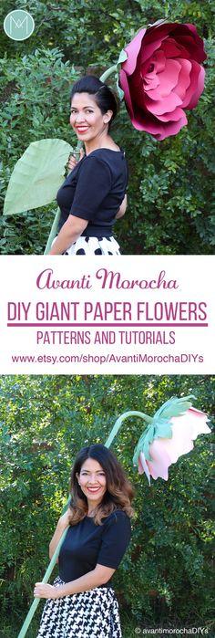 DIY Giant Paper Flowers – Full Set –Stemmed Flowers | Wedding decor | Bridal | Babyshower AvantiMorocha Blog
