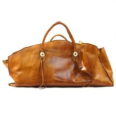 GIANT Leather Tote or Carry On Bag in Honey Brown