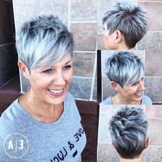 Spiky Gray Balayage Pixie For Women Over 50 - Kurzhaarfrisuren Gray Balayage, Hair Color Balayage, Hair Highlights, Short Pixie Haircuts, Short Hairstyles For Women, Grey Haircuts, Hairstyle Short, School Hairstyles, Classy Hairstyles