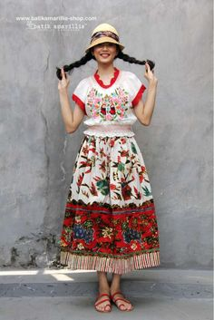 NEW Batik Amarillis's Hajnalka and Batik Amarillis's Traveller skirt in batik gendongan Sidoarjo availabe at Batik Amarillis webstore www.batikamarillis-shop.com -do not miss this beautiful smocked ,crocheted and embroidered linen blouse which Hungarian's kalocsa embroidery inspired and styled rules this romantic outfit