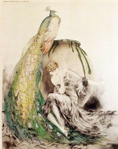"""Lady with peacock"" by Louis Icart - 1925"