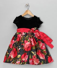 Beautiful dress for Christmas and/or family photo.  See Red & Black Floral Velvet Dress on zulily.com.