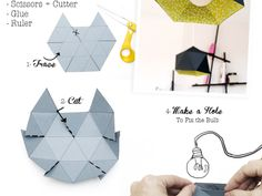 Lampe de papier fabriquée en origami diy  I love this blog - just found it tonight, lots of cute ideas...