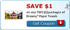 SAVE $1.00 on any TWO (2) packages of Brawny® Paper Towels