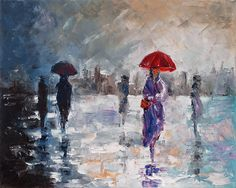 Kai Fine Art is an art website, shows painting and illustration works all over the world. Brollies, Red Umbrella, Walking In The Rain, Contemporary Decor, Custom Art, Impressionism, Art Pieces, Fine Art, Abstract