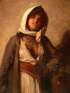 "Nicolae Grigorescu, ""Gypsy from Ghergani"" Character Inspiration, Character Art, Character Design, National Art Museum, Ariana Grande Drawings, Mandala, Fantasy Rpg, Female Portrait, Ancient Art"