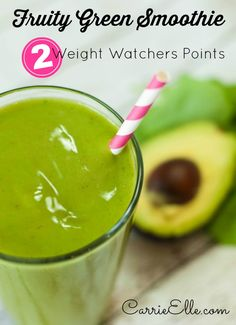 Fruity Green Smoothie Recipe - all whole foods, dairy-free, no juice, and only 2 Weight Watchers points!