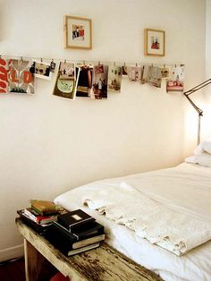 hanging pictures, postcards, etc #smallspaces