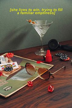 Art Direction, styling and photography featuring Velvet Canyon sunglasses. Still Life Photography, Creative Photography, Editorial Photography, Foto Props, Retro, Cocktail Photography, Cocktail Book, Mood And Tone, Branding