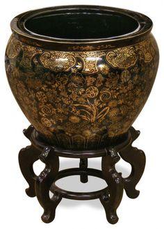 Indoor Decorative Planters Hand Painted Porcelain Fishbowl Planter Gold And Black Vine Motif Large Plant Pots