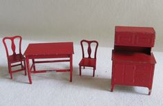 BQ-vtg Tootsietoy metal dollhouse -red kitchen hutch cabinet+table+chairs | eBay Kitchen Hutch Cabinet, American Doll House, Vintage Dollhouse, Red Kitchen, Dollhouse Furniture, Table And Chairs, Stool, Dolls, Metal
