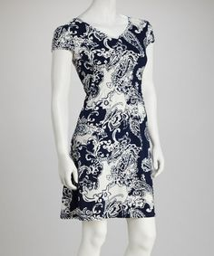 Take a look at this Navy Paisley Scoop Neck Dress - Women by Ice Silk on #zulily today!