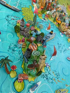 Sara Drake - Map of Sardinia. Detail from a large illustrated map of Italy - papier mache, acrylic paint, balsa wood and mixed media.