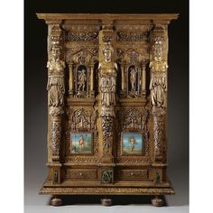 A highly important and rare French verde antico marble-mounted, painted and carved walnut armoire attributed to Hugues Sambin (1520-1601), Burgundian circa 1580.