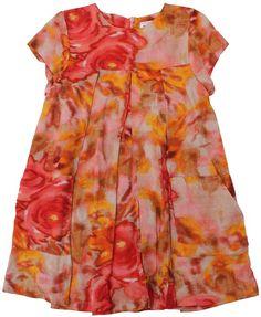 Morley - jurk print rozen - Lieve jurk in een bijzonder mooie en warme print van rozen. Korte kaprmouwtjes en wijdvallend model. Blinde rits op de rug. Twee opgestikte zakken vooraan. Samenstelling: 100% viscose.
