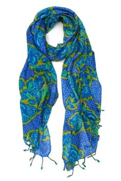 Ginny Tropical Floral Scarf - blue