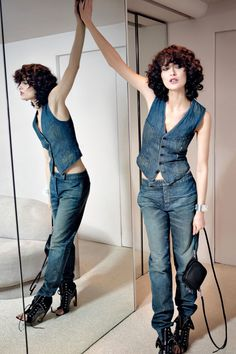 Here, Shalom Harlow\'s double dose of denim takes on a edgy quality with its…