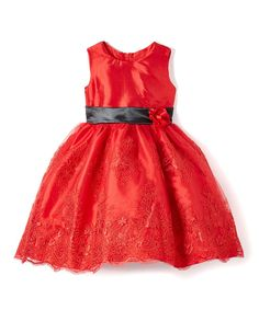 Red Floral A-Line Dress - Infant, Toddler & Girls