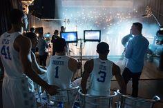 Devin Booker (1), Dakari Johnson (44), Trey Lyles (41), Tyler Ulis (3) The University of Kentucky men's basketball team in Indianapolis Thursday, April 2, 2015.