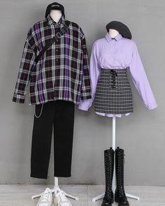 Image may contain: people standing and shoes Harajuku Mode, Harajuku Fashion, Fashion Outfits, Korea Fashion, Asian Fashion, Korean Fashionista, Matching Couple Outfits, Fashion Couple, Ulzzang Fashion