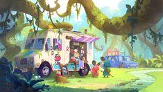 ArtStation - Jam truck in the forest, Goeun Kim Forest Illustration, Children's Book Illustration, Character Illustration, Environment Painting, Environment Concept Art, Environment Design, Art Prompts, Character Design Animation, Animation Background