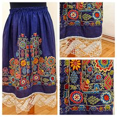 Czech textiles (here traditional dress) Hungarian Embroidery, Folk Embroidery, Learn Embroidery, Embroidery Patterns, Ethnic Outfits, Folk Costume, Chain Stitch, Textile Patterns, Traditional Dresses