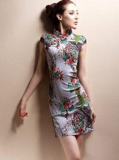 Short Rose Cheongsam / Qipao / Chinese Dress