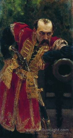 Zaporozhian colonel, Study for the picture The Reply of the Zaporozhian Cossacks to Sultan of Turkey - Ilya Repin