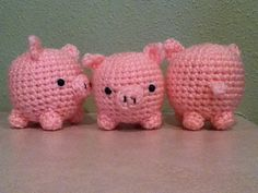 teacup pig. So cute! His legs and nose are a bit fiddly to sew on, especially if you make it with really thin yarn, but worth it! from ravelry.com