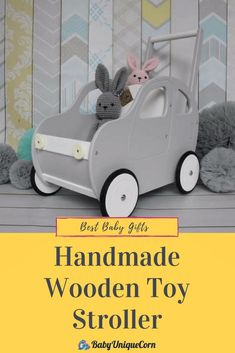 Wooden push car, baby walker, perfect for first steps, sturdy and safe. Wooden Letter Crafts, Wooden Letters, Handmade Wooden Toys, Handmade Baby Gifts, Push Toys, Wood Projects For Kids, Best Baby Gifts, Baby Unicorn, Baby Box