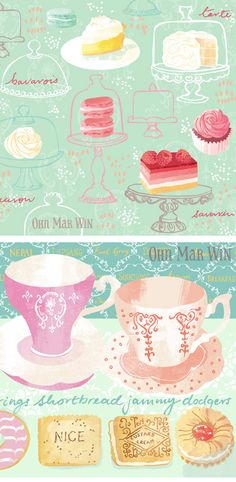 'FEAST' - They Draw and Cook's NEW feature — Ohn Mar Win Lemon meringue patisserie cupcake macaroons teacups biscuits Illustration